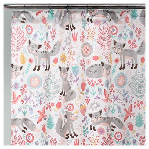 Pixie Fox Shower Curtain Gray Pink