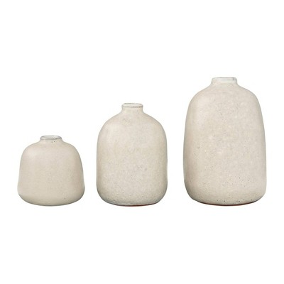 Set of 3 Terracotta Vases with Pitted Sand Finishes Light Gray - 3R Studios