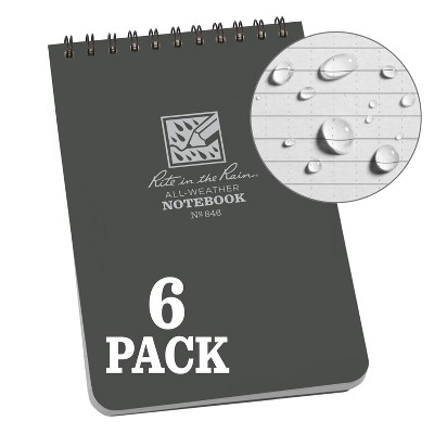 """6pk Spiral Notebook 1 Subject Special Ruled 4"""" x 6"""" Gray - Rite in the Rain"""