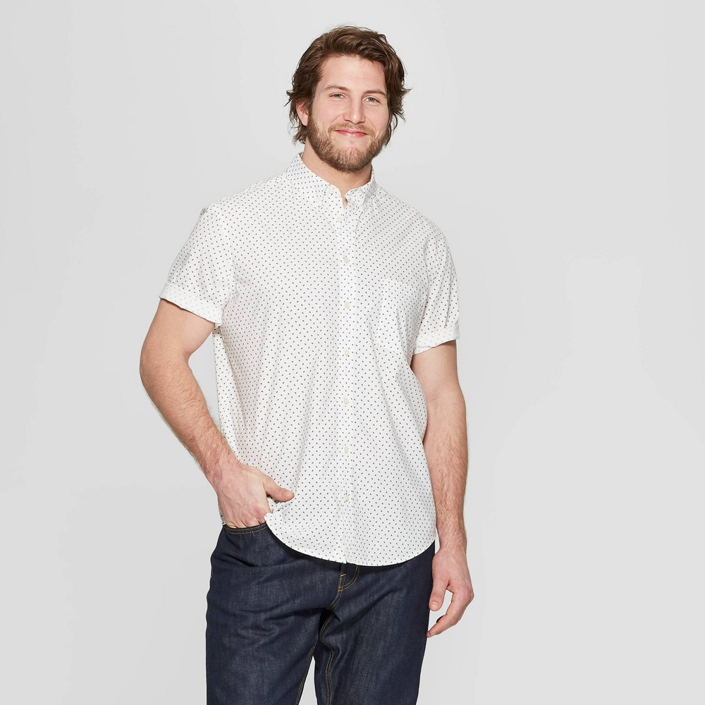 Men's Big & Tall Printed Standard Fit Short Sleeve Poplin Button-Down Shirt - Goodfellow & Co White 3XBT