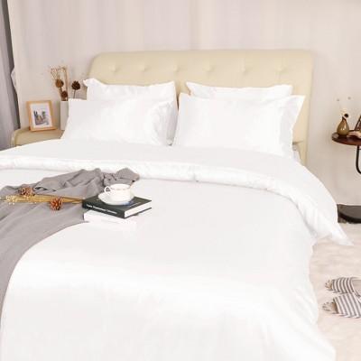 3 Pcs Polyester Satin Silk Solid Bedding Sets Queen Cream White - PiccoCasa