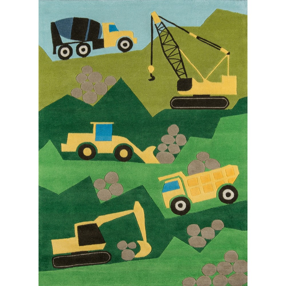Construction Zone Area Rug Green (8'x10')