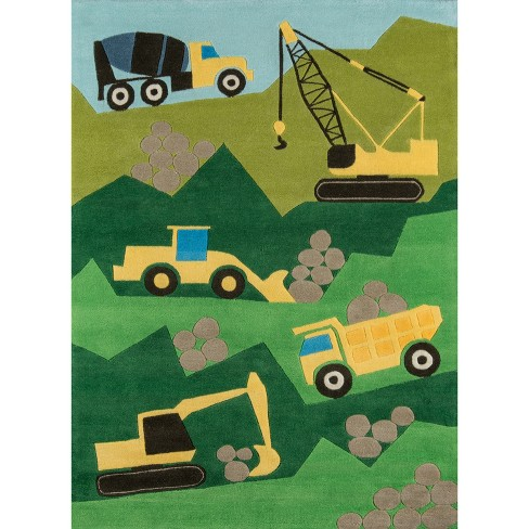 Construction Zone Accent Rug Green (2'x3') - image 1 of 4