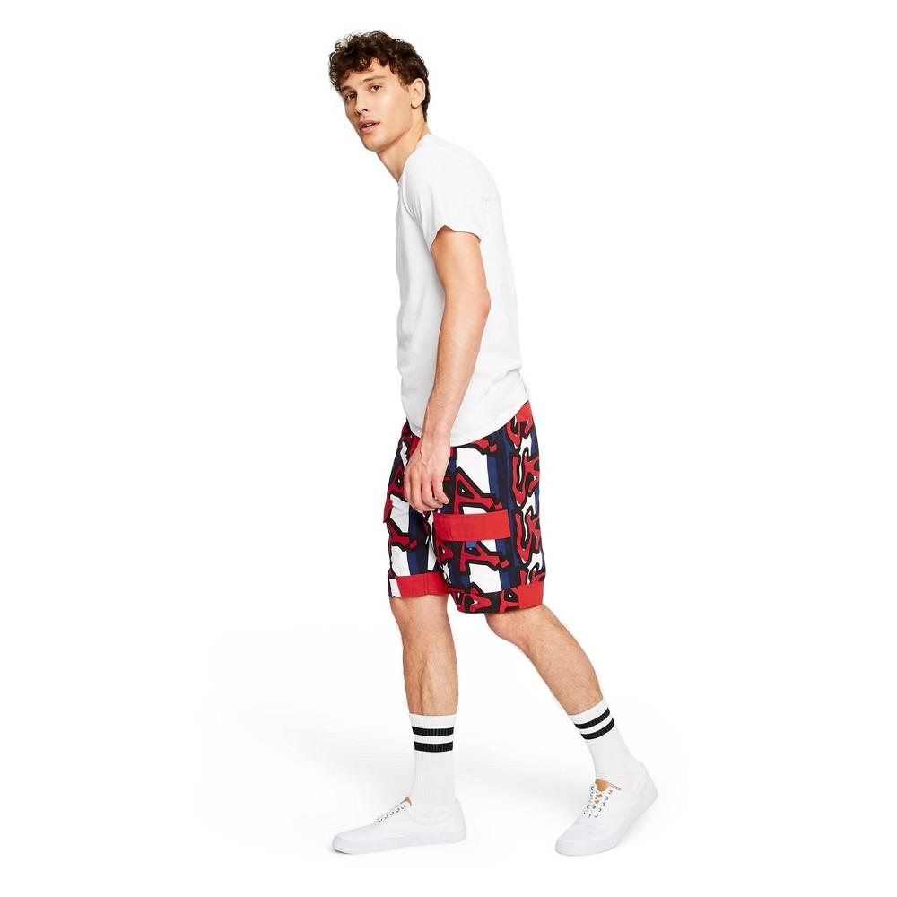 Image of Men's USA Graffiti Print Swim Shorts - Stephen Sprouse for Target Red/Blue 28, Men's, Red Blue