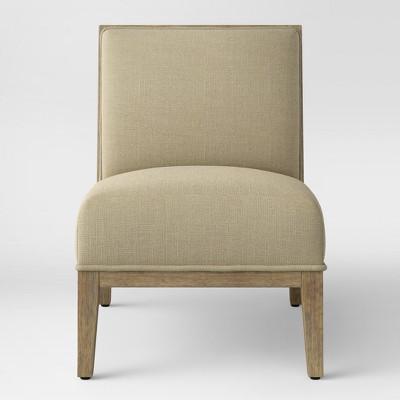 Beau Rustic Wood Frame Slipper Chair Cream   Threshold™