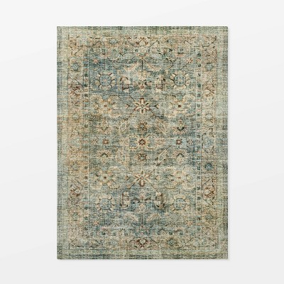 7'x10' Ledges Digital Floral Print Distressed Persian Green - Threshold™ designed with Studio McGee