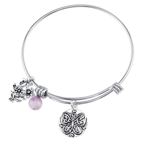 "Stainless Steel Flower and Butterfly Charm Expandable Bracelet Believe - 8"" - image 1 of 1"