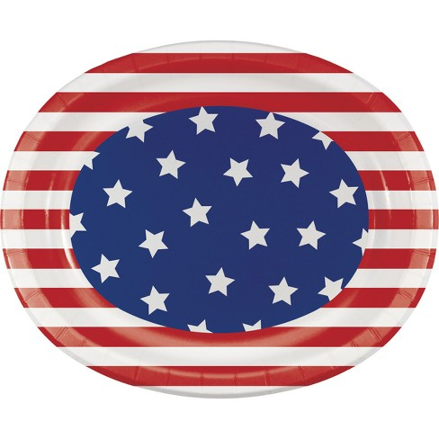 "Patriotic Patterns 10"" x 12"" Oval Platters - 8ct - image 1 of 1"