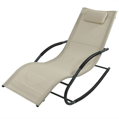 Sunnydaze Outdoor Patio and Lawn  Wave Rocking Lounge Chair with Pillow, Beige