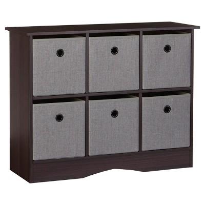RiverRidge® 6-Cubby Storage Cabinet with Bins-Espresso/Gray