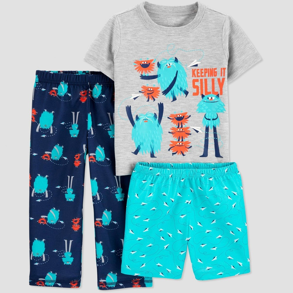 Image of Baby Boys' 3pc 'Monster' Pajama Set - Just One You made by carter's Blue 12M, Boy's