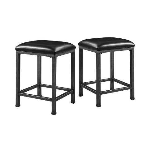 Set of 2 Simon Cushioned Metal Barstool Gray - miBasics - image 1 of 4