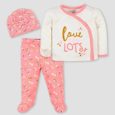 Gerber Baby Girls' 3pc Ballerina Take Me Home Bodysuit Set - Pink 0-3M