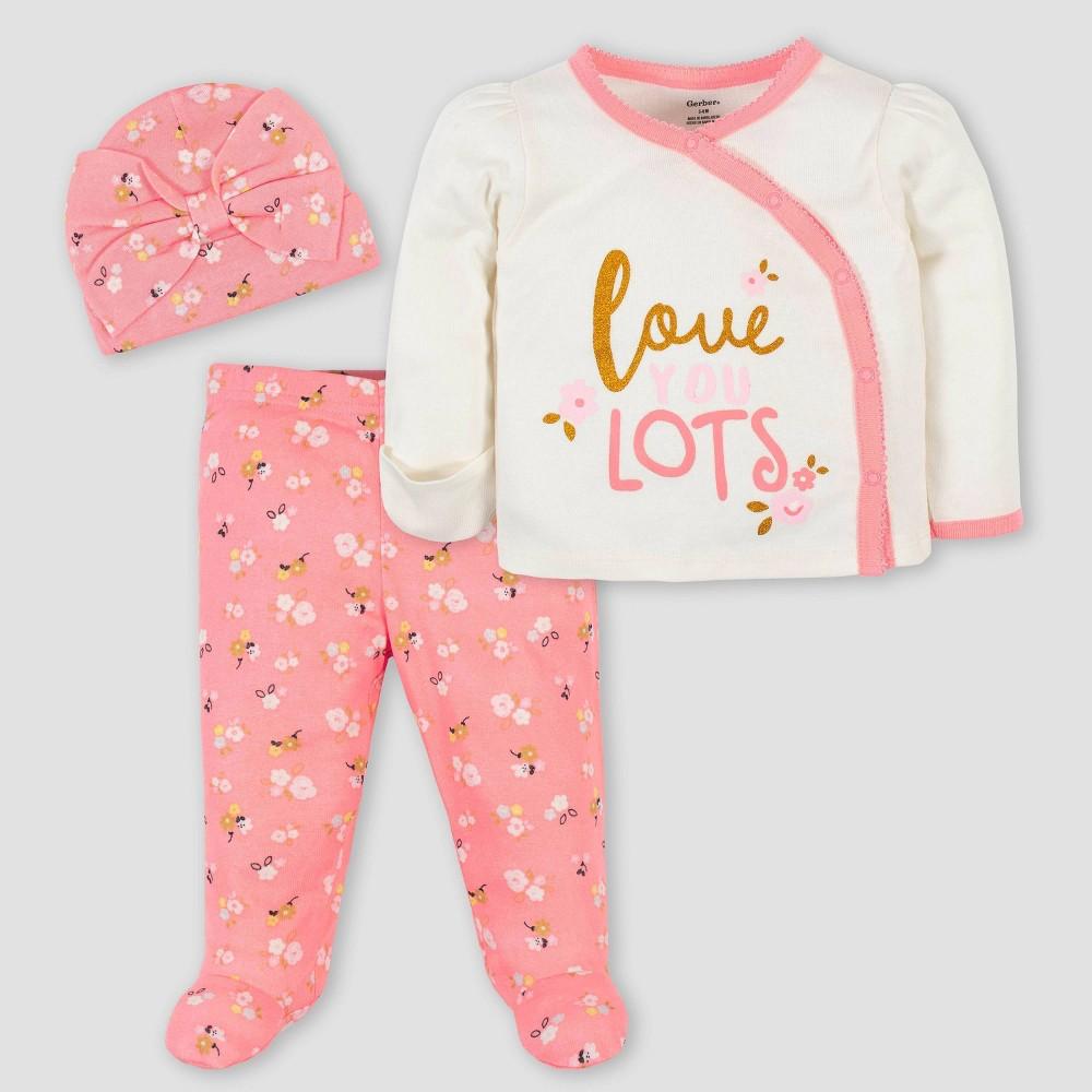 Gerber Baby Girls 39 3pc Ballerina Take Me Home Bodysuit Set Pink 3 6m