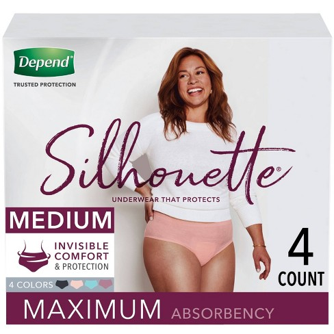 Depend Silhouette Incontinence Underwear for Women - Maximum Absorbency - Medium - Pink/Black/Teal/Berry - 4ct - image 1 of 4