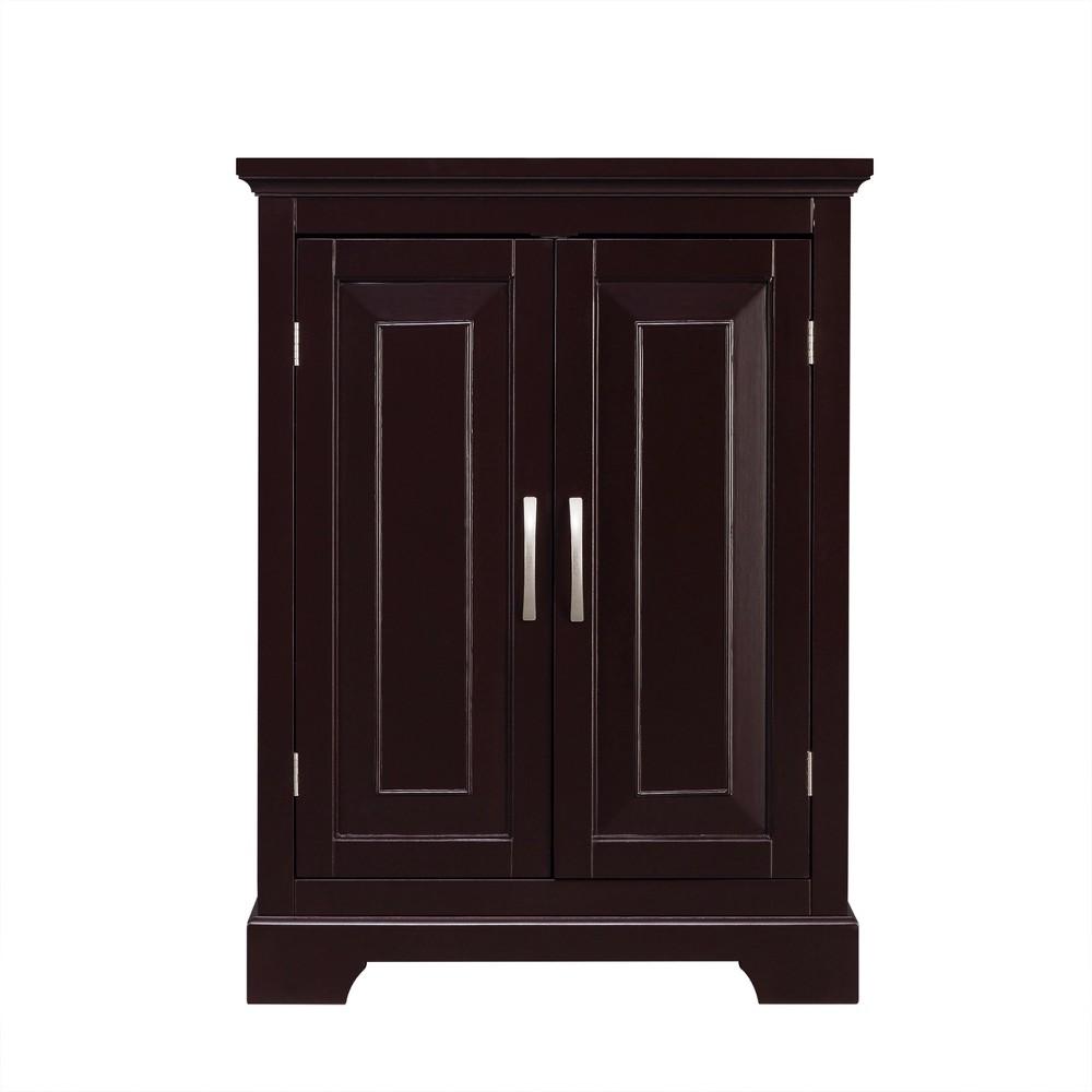 Image of Alfa Double Door Floor Cabinet Espresso Brown - Elegant Home Fashions