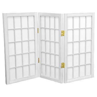 2 ft. Tall Desktop Window Pane Shoji Screen (3 Panels) - Oriental Furniture