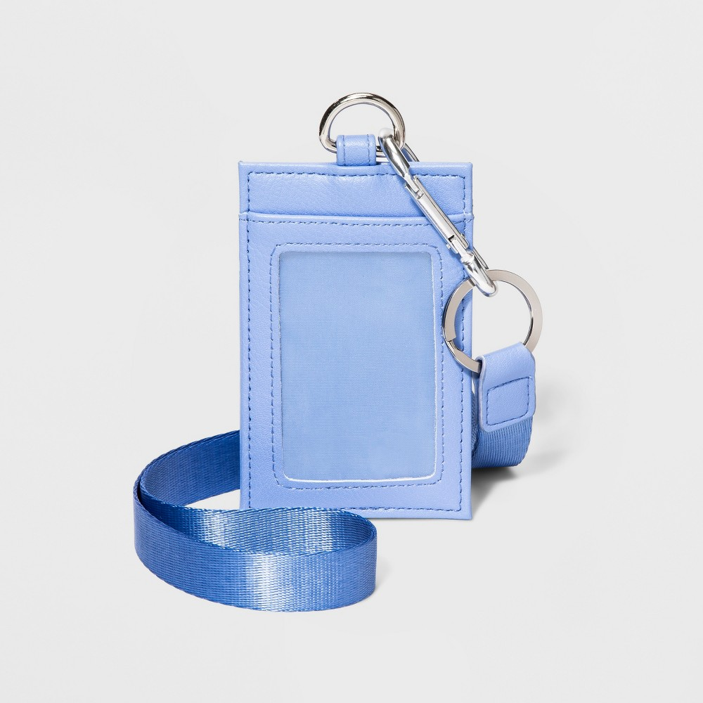 Women's Lanyard - Wild Fable Blue ID lanyard with clear ID window on one side and three card slots on the other. Long lanyard slips on easily for hands-free carrying. Removable ID holder is attached to lanyard by metal clip Color: Blue. Gender: Female. Age Group: Adult. Pattern: Solid.