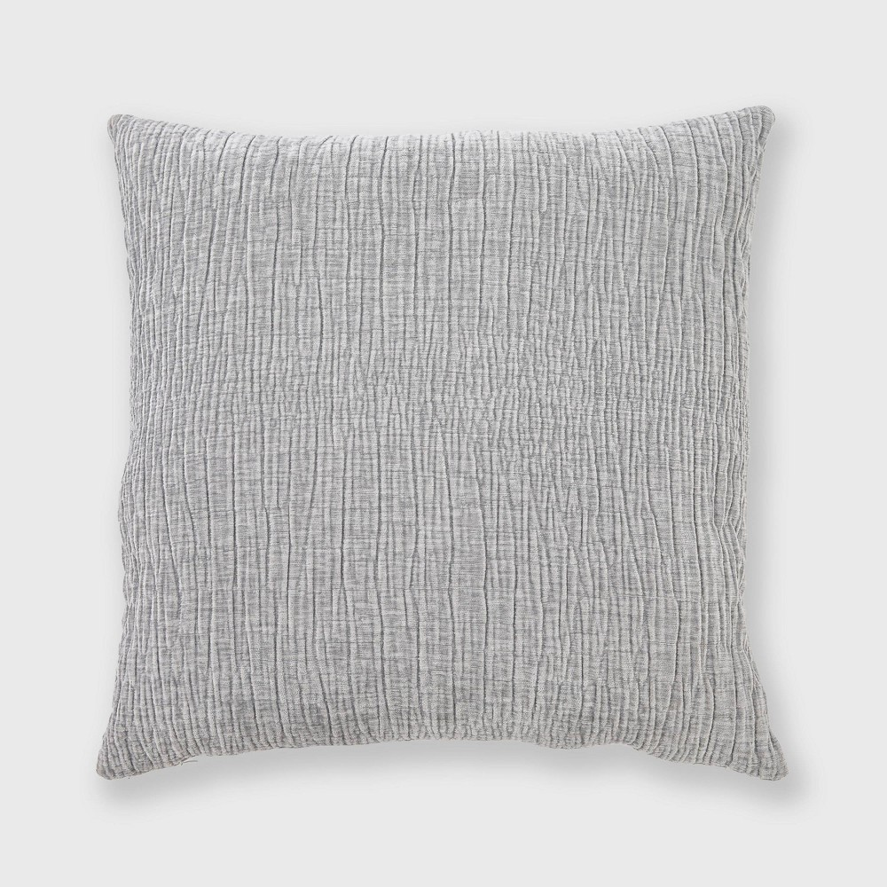 "Image of ""20""""x20"""" Textured Washed Chenille Woven Throw Pillow Gray - Evergrace"""