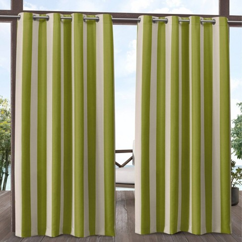 Canopy Striped Grommet Top Light Filtering Window Curtain Panels - Exclusive Home - image 1 of 4