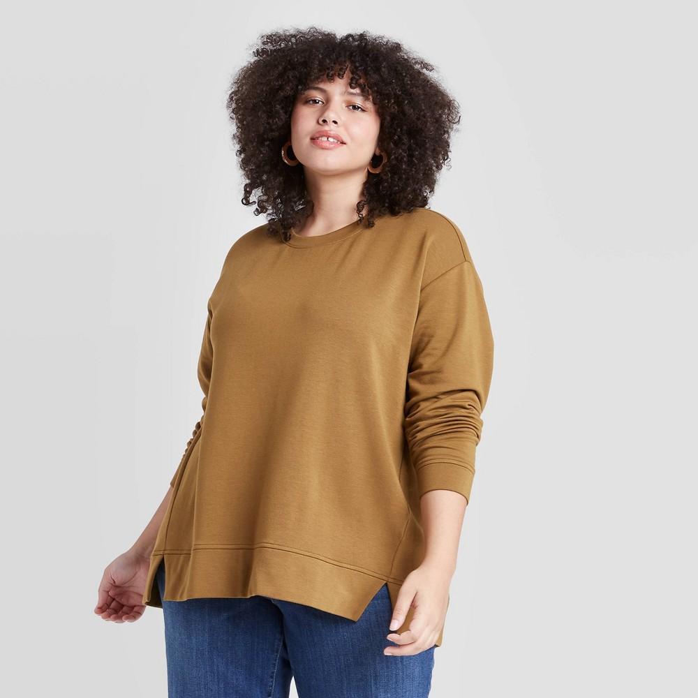 Women 39 S Plus Size Essential Sweatshirt Ava 38 Viv 8482 Olive 3x