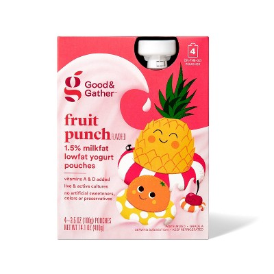 Fruit Punch Lowfat Kids' Yogurt Pouches - 4pk/3.5oz - Good & Gather™