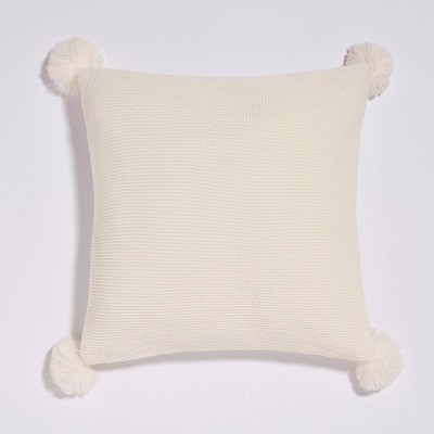 """18""""x18"""" Sweater Knit Pom-Pom Reversible Throw Pillow White - Sure Fit"""