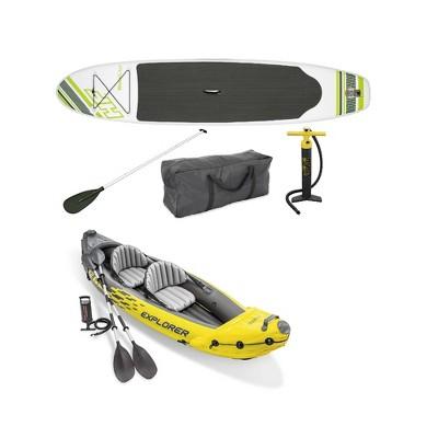 Bestway Inflatable Hydro Force Paddle Board w/ Intex 2 Person Kayak & Air Pump