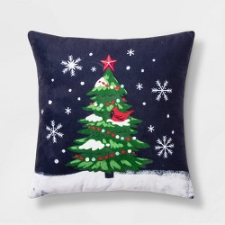 Tree Print Square Throw Pillow Red - Wondershop™