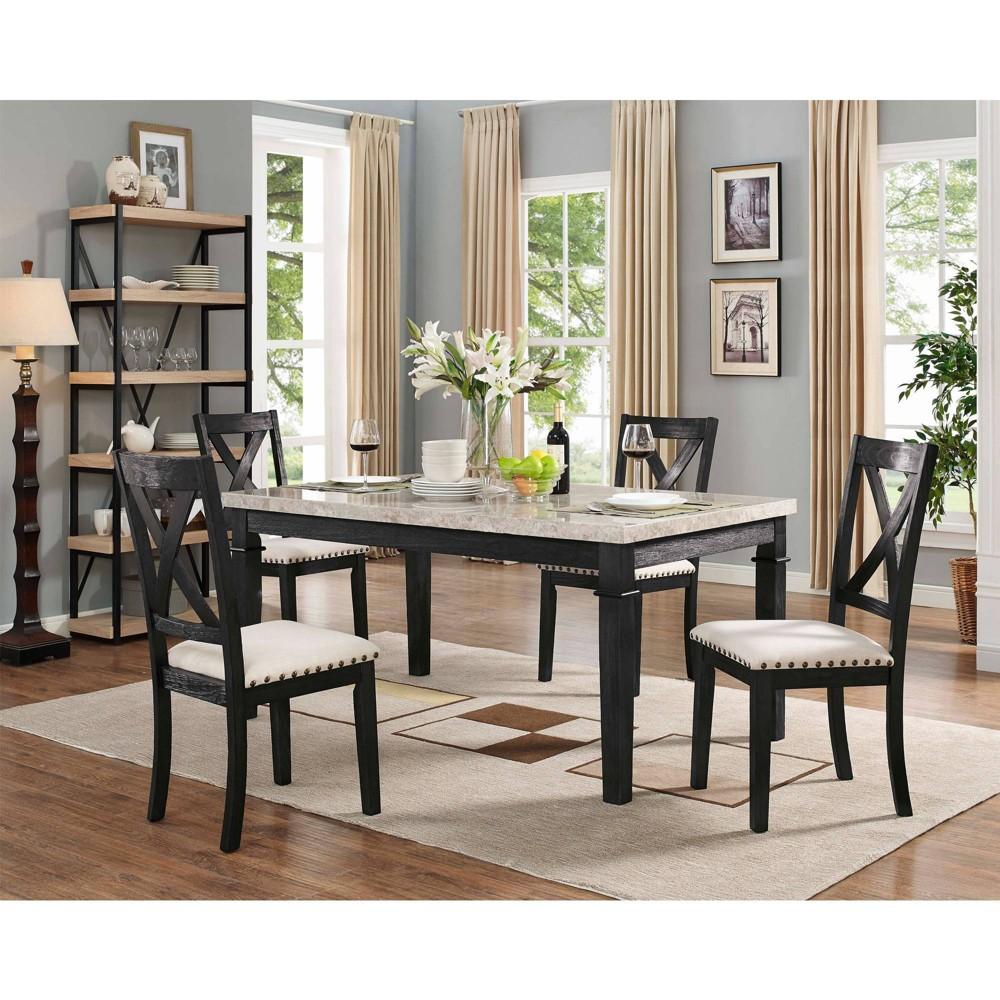 5pc Bradley Dining Set Table & 4 X Back Side Chairs Dark Walnut - Picket House Furnishings