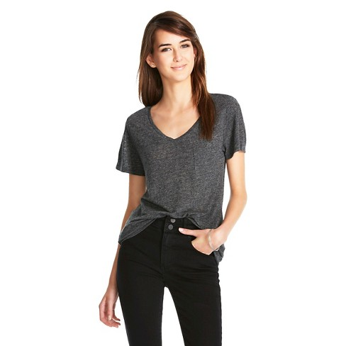 10433c8f Women's V-Neck Linen/Poly T-Shirt with Pocket - Mossimo : Target