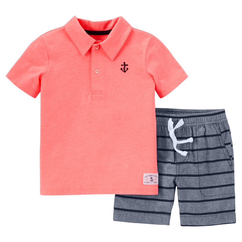 Toddler Boys' 2pc Shorts Set - Just One You Made by Carter's Coral/Chambray 5T, Bermuda Coral