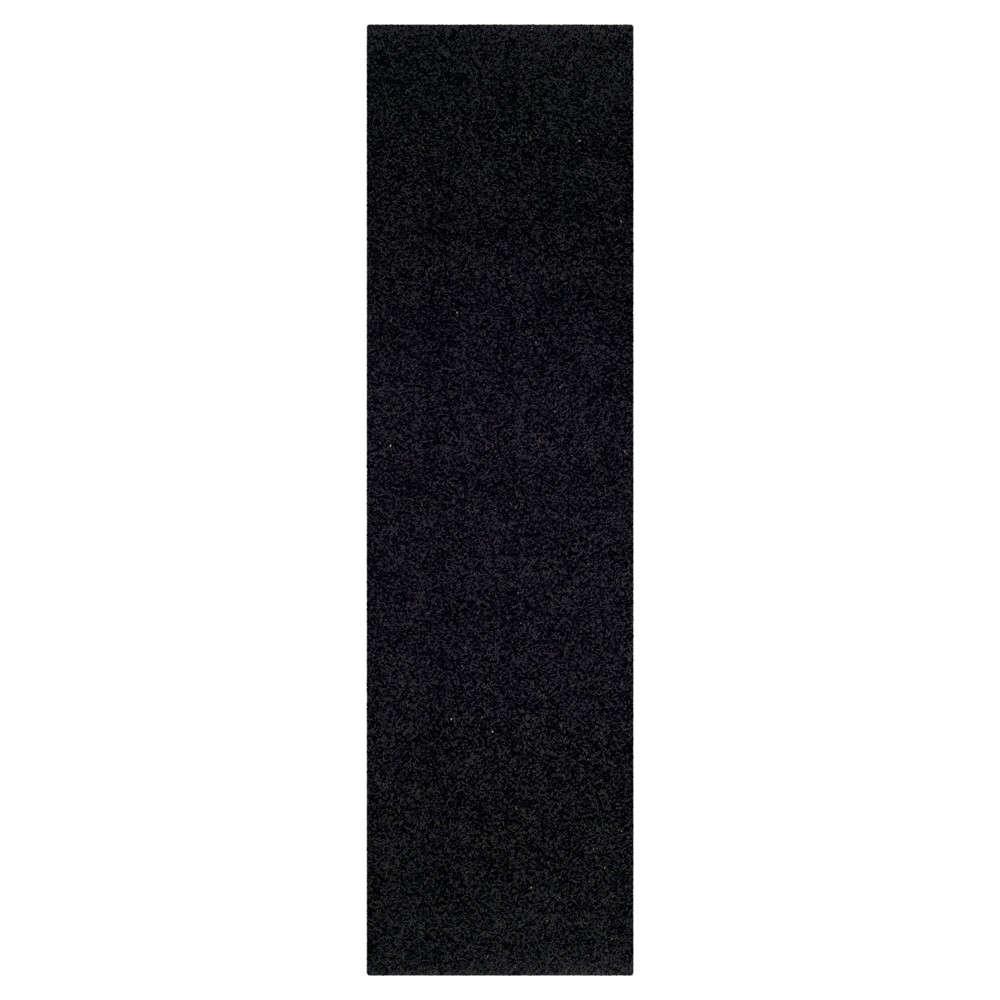 Black Solid Loomed Runner - (2'3x8' Runner) - Safavieh