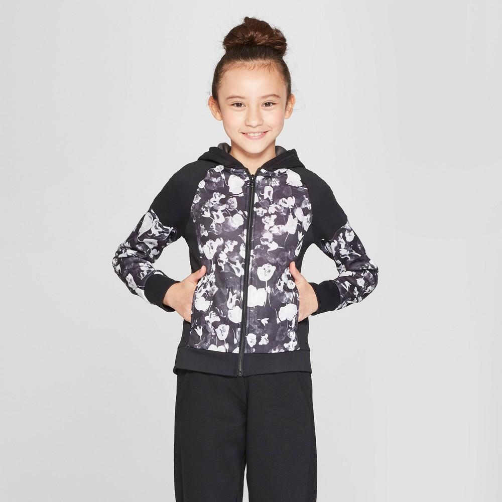 Girls' Printed Tech Fleece Full Zip Hoodie - C9 Champion Black Tulips Print L