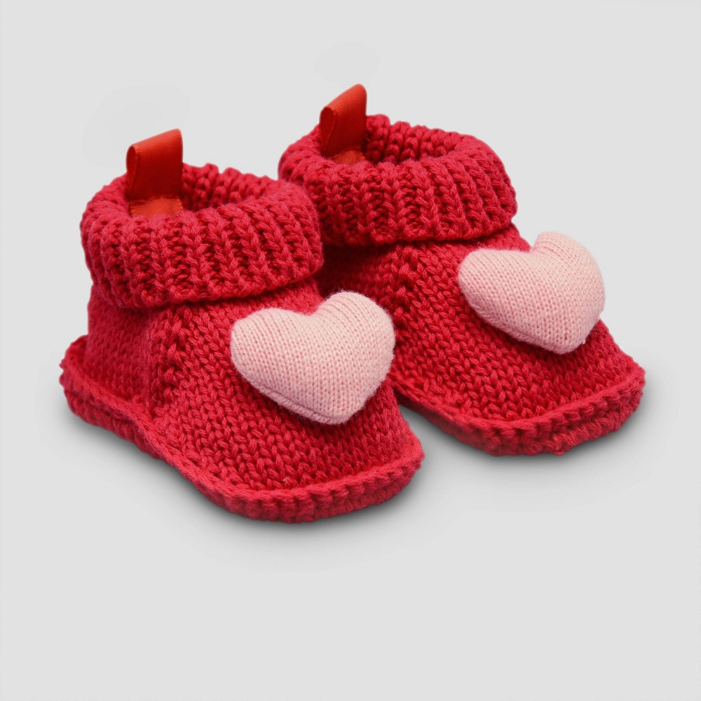 Image of Baby Girls' Knitted Heart Slipper - Just One You made by carter's Newborn, Girl's, Multicolored Red