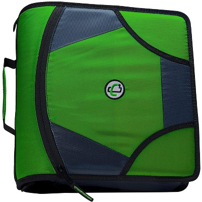 Case-it Zipper Binder with 5 Tab Files, D-Ring, 4 Inches, Green