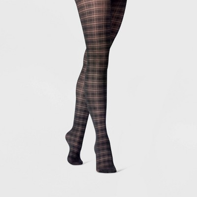 Women's Sheer Plaid Tights - A New Day™ Black