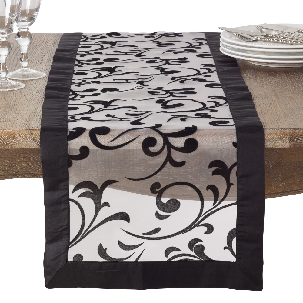 Black Jacquard Table Runner - Saro Lifestyle