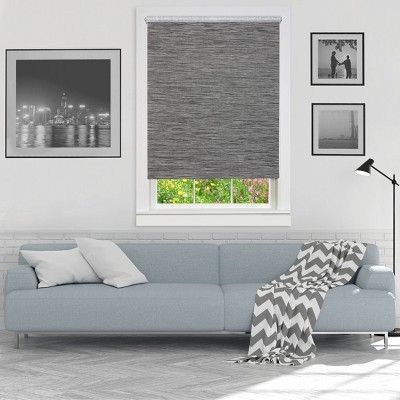 22 x72  Cordless Free Privacy Light Filtering Jute Window Roller Shade Gray - Achim
