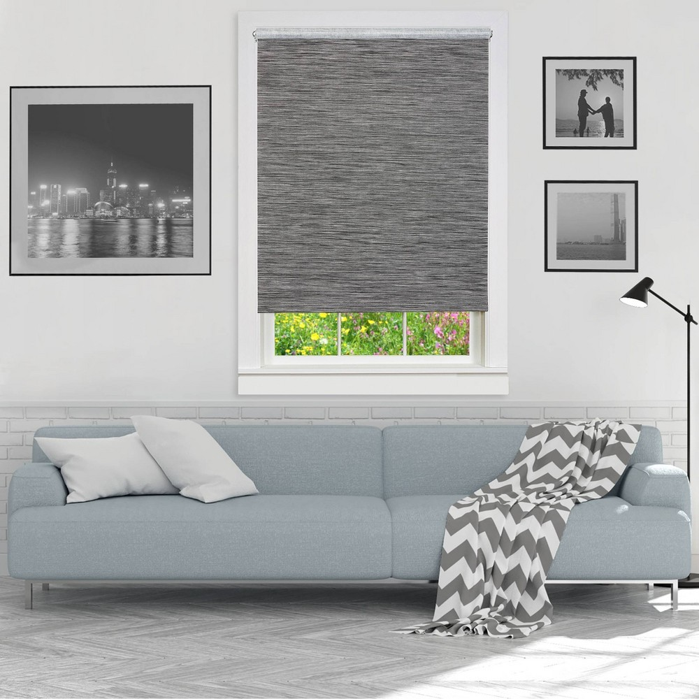 "Image of ""20""""x72"""" Cordless Free Privacy Light Filtering Jute Window Roller Shade Gray - Achim, Size: 20""""x72"""""""
