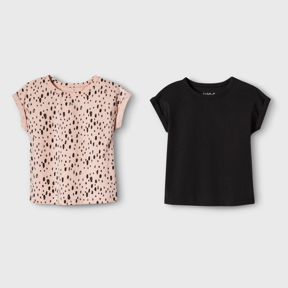 Toddler Girls' 2pk Short Sleeve T-Shirts - Cat & Jack Dark Gray/Peach Dots 5T, Orange