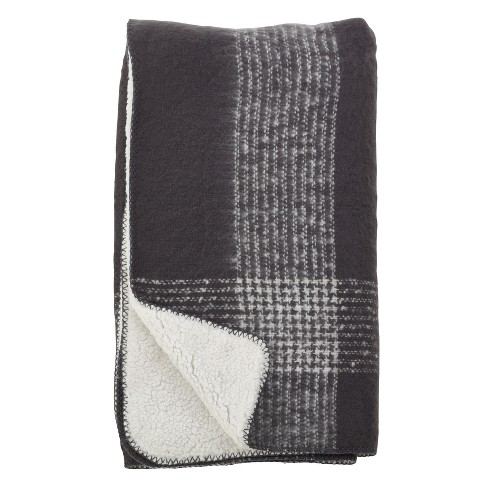 Faux Mohair Plaid Sherpa Reversible Throw - image 1 of 1