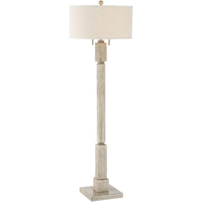 Barnes and Ivy Country Cottage Floor Lamp Pickled Wood Oatmeal Linen Drum Shade for Living Room Reading Bedroom Office