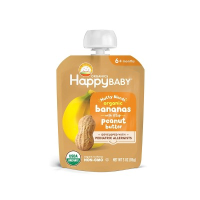 HappyBaby Nutty Blends Organic Banana & Peanut Butter Baby Food Pouch - 3oz
