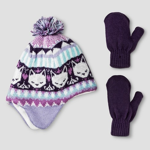 Toddler Girls' Beanie and Mitten Set - Cat & Jack™ Purple/Turquoise - image 1 of 1