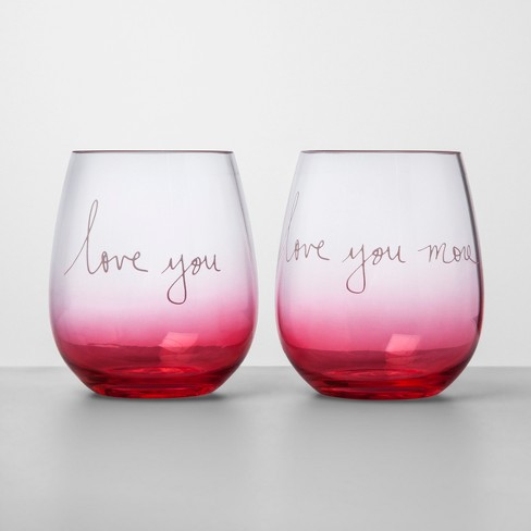 17oz 2pk Acrylic Love You And Love You More Stemless Wine Glasses - Opalhouse™ - image 1 of 1