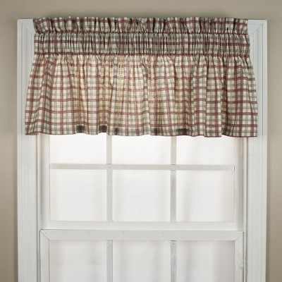 "Ellis Curtain Bristol Plaid High Quality Fabric Water Proof Room Darkening Blackout Tailored Window Valance - (70""x12"")"