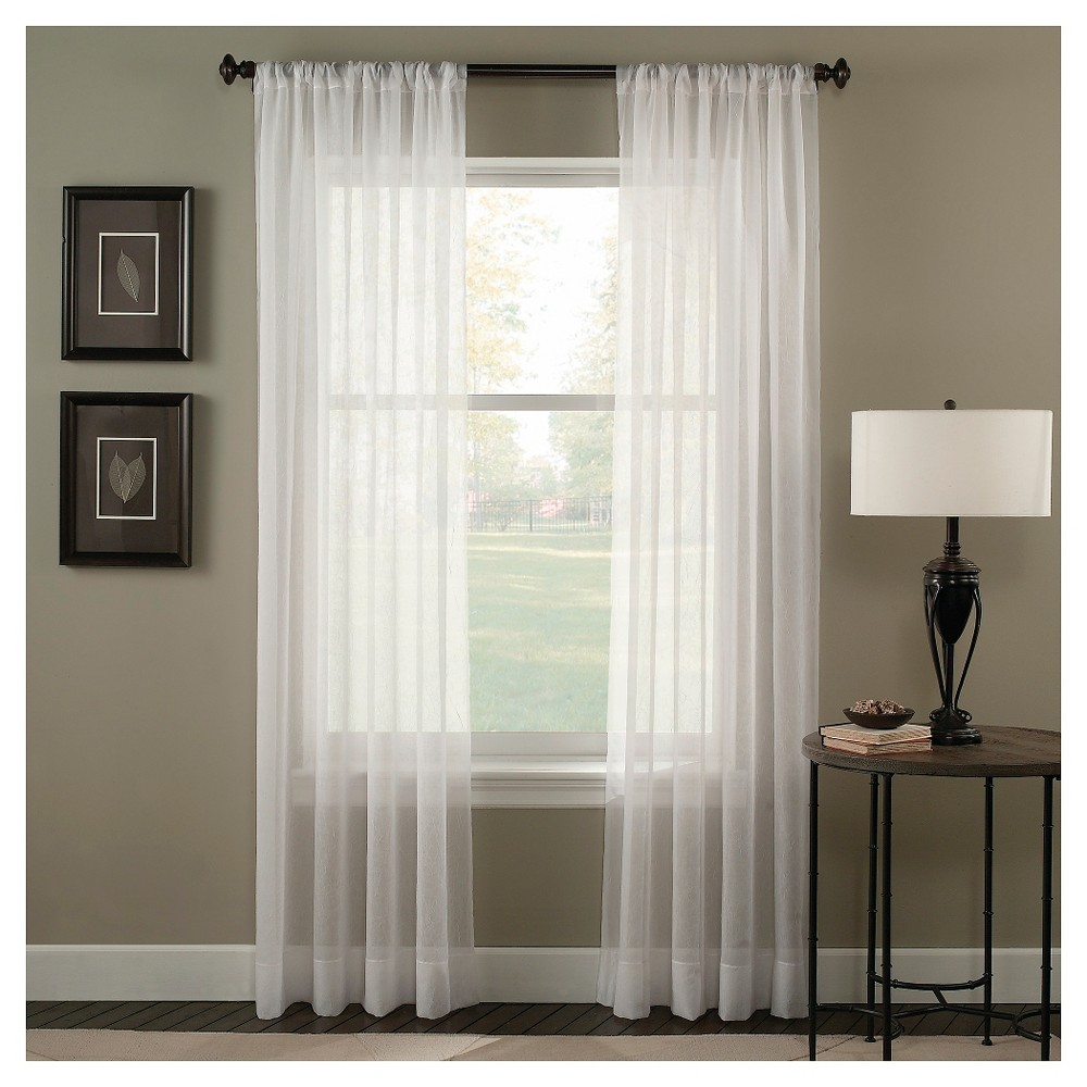 Curtainworks Trinity Crinkle Voile Curtain Panel - Winter White (84)