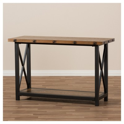 Herzen Rustic Industrial Style Antique Textured Finished Metal Distressed  Wood Occasional Console Table   Black   Baxton Studio