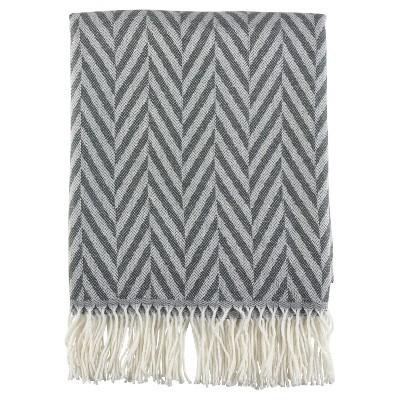 "Gray Jacquard Pattern Fringe Throw Blankets (50""x60"")- Saro Lifestyle"